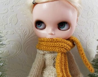 Bamboo & Wool Hand Knit Scarf for Blythe Doll,  Mustard Yellow, Ribbed Knit