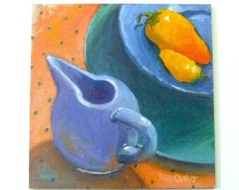 Vintage Creamer Painting • Oil Paintings • Original Art • Oil Painting • Daily Painter • Daily Painting • Pitcher • Polka Dots