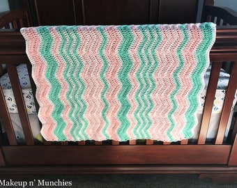 Crochet Ripple Stitch Baby Blanket / Pattern / Crochet / Baby Blanket