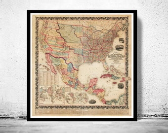 Beautiful Map of United States America 1856