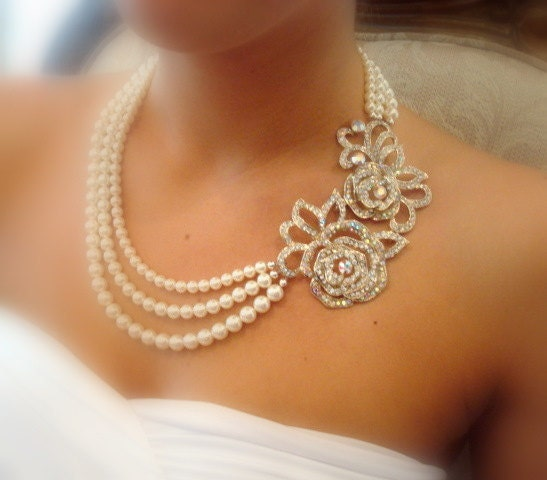 Pearl Jewellery Necklace >> Bridal Statement Necklace Bridal Pearl Necklace Swarovski