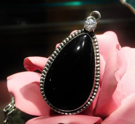 Black Onyx Pendant / Sterling Silver / White Topaz