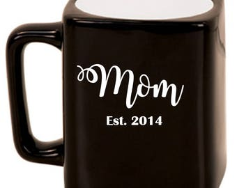 Mom Est. -- Laser Etched Ceramic Mug, Customized Gifts for Her