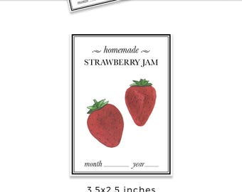 Strawberry JAM label design, Straberry jam sticker, label design, product packaging, strawberry label design, watercolor label design