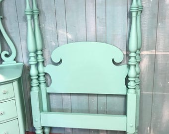 Jadeite green twin 4 post poster bed single distressed cottage