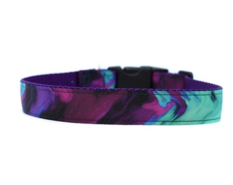 1 Inch Wide Dog Collar with Adjustable Buckle or Martingale in Marbled Purple