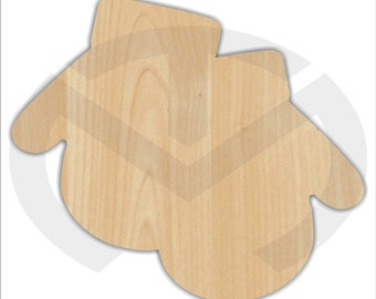 Unfinished Wood Mittens Laser Cutout, Wreath Accent, Door Hanger, Ready to Paint & Personalize, Various Sizes