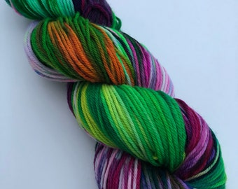 Snow Dyed Yarn Superwash Merino Nylon Double Knit DK Weight Multi Colours Bright Bold Neon