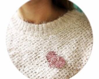 """brooch """"heart"""" canvas glitter blush pink glitter"""