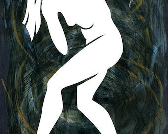 Figurative Collage II, mixed media, figure drawing, collage, modern dance, original art