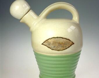 Mohawk Creme De Menthe Ceramic Bottle Stoneware Jug w Cork and Label 1930s