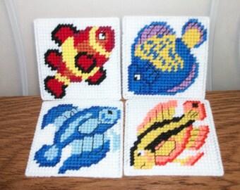 Tropical Fish Coaster Set - Aquarium Fish Beverage Coasters - Colorful Fish Drink Coasters - Fish Mug Rugs - Ready-to-Ship