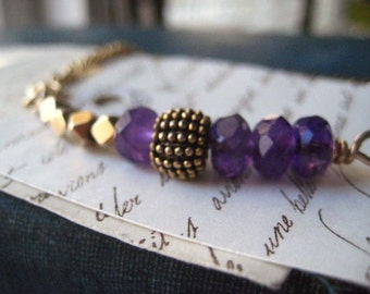 Amethyst Bracelet, Color for 2018, Vintage chain, February Birthstone, genuine amethyst, gold tone chain,brass beads, 14K gold filled