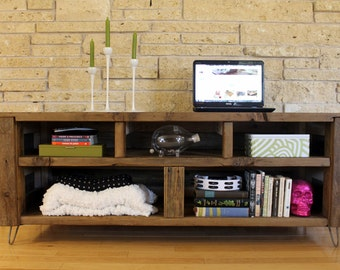 """Reclaimed Wood Media Console, TV Stand, Entertainment Center - """"The Habermehl"""" - Rustic, Mid Century, Modern, Storage, Cubbies"""
