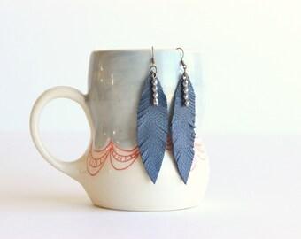 Navy blue feather earrings, Leather earrings, Feather earrings, Navy earrings, Navy blue earrings