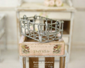 Miniature Handle Basket, Metal Imitation Aged Steel, Doll House 1/12 Scale, Collectible Accessory