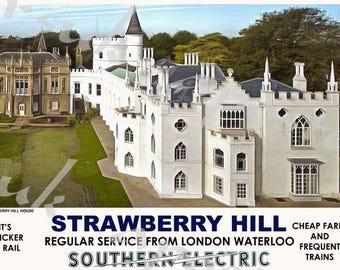 Vintage Style Railway Poster Strawberry Hill A3/A2 Print