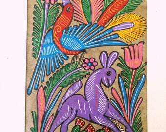 Mexican painting, Alebrije Mexican Folk Art, Amate Bark Painting, Birds of Paradise paint, Maria Frida wall art, Mexican home, Mexican paper