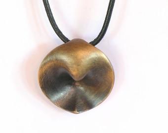 Handcrafted bronze pendant, wearable sculpture, silver neckpiece, sculptural jewelry, 8th anniversary bronze, womens or men, talisman