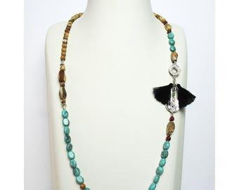 Jewelry necklace beads natural semi precious handmade hand TREBIZOND