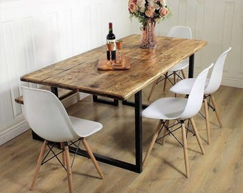 Industrial Dining Table Rustic solid Kitchen farmhouse Steel Reclaimed Chelsea - Handmade In Britain British Steel