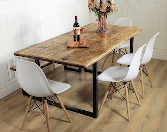 Industrial Dining Table Rustic Solid Kitchen Farmhouse Steel Reclaimed  Chelsea   Handmade In Britain British Steel