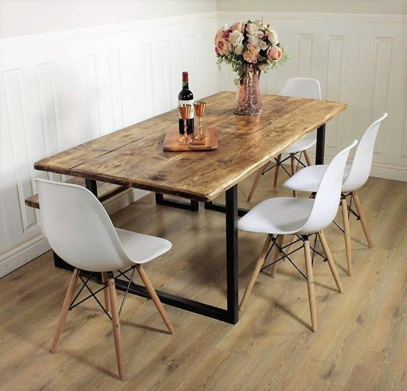 Furniture Dining And Kitchen Tables Farmhouse Industrial: Industrial Dining Table Rustic Solid Kitchen Farmhouse Steel