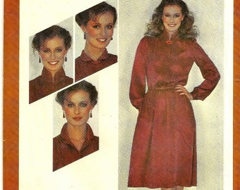 A Pullover, Long Sleeve, Concealed Button Bodice, Flared Skirt Pattern with Collar Variations for Women: Sizes 18 & 20 • Simplicity 9623