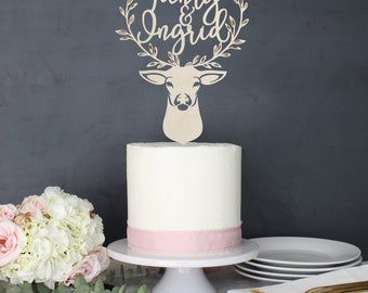 Personalized Modern Rustic Enchanted Forest Deer Antler Stag Floral Wedding Cake Topper | Custom Name