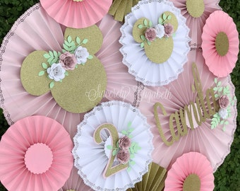 Minnie Mouse Floral Inspired, Minnie Mouse backdrop, Paper fans, Photoshoot props