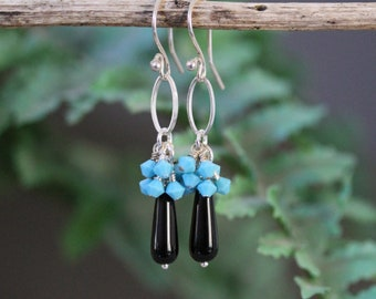 Long Dangling Black Teardrop and Turquoise Swarovski Crystal Earrings, Sporty Earrings, Cascading Earrings