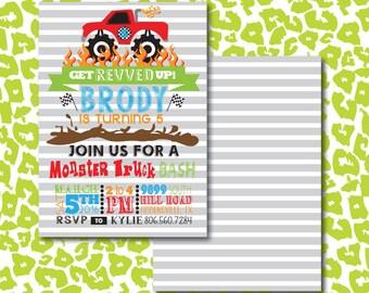 Monster Truck BASH Birthday Theme Party Invitation