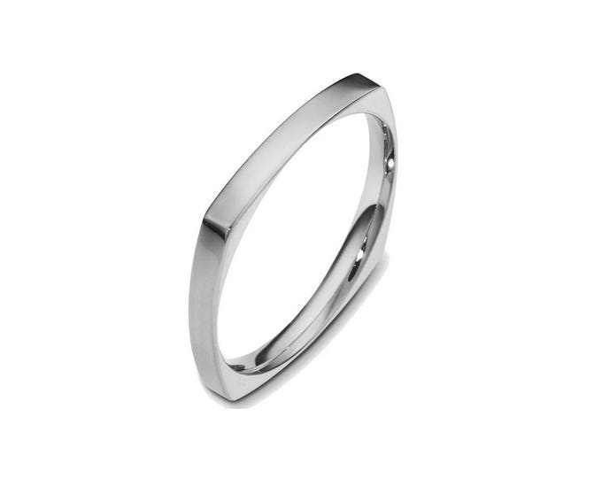 2mm, 3mm, 4mm Stainless Steel Square Comfort fit Wedding Ring Band