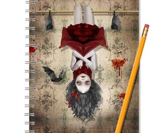 Vampire Notebook - Vampire Journal - Vampire Girl & Bats - LINED OR BLANK pages, You Choose