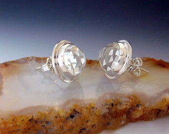 White Topaz Earrings - Sterling Silver - Rose Cut Stones - White - Clear - Silver Grey - Round