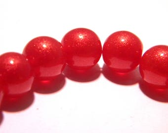 30 beads in glass - 10 mm - pale golden-red glitter - k29s glass bead