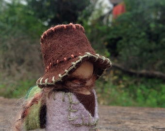 Lady peg doll with backpack, Waldorf inspired felt miniature