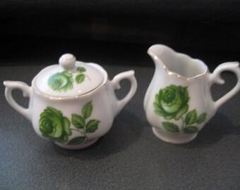 Vintage Glazed Ceramic Sugar Bowl & Creamer Set With Green Cabbage Rose Design