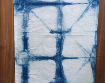 Tie Dyed Indigo 100% Linen Placemats Set of Two
