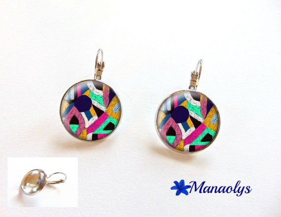 Pop art, colorful, sleepers, patterns earrings ethnic earrings 3280