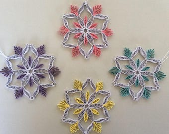 Beautifully Quilled Colorful Snowflakes set of 4/ Quilled Christmas Ornament