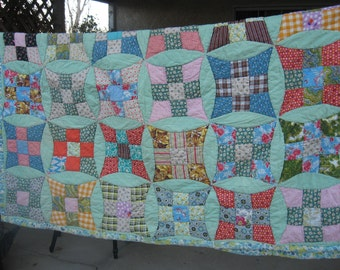 Vintage Small Patchwork  All hand pieced hand quilted
