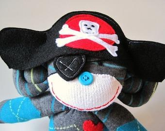 Sock Monkey Pirate - Captain Oliver Blue