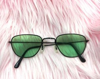 JOHNNY SUNGLASSES   90s green lens aviators
