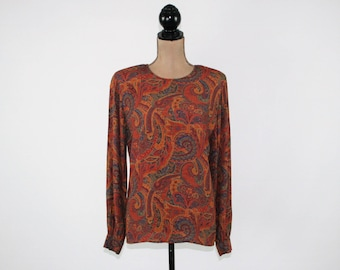90s Long Sleeve Blouse Rayon Shirt Small Fall Tops Orange Paisley Back Button Blouse Size 4 Liz Claiborne Vintage Clothing Womens Clothing