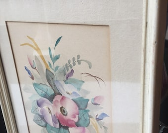 Wall decor, home interior , decoration, French art work,Flowers, Spring bouquet,spare room, vinatge frame,  watercolor, watercolor flowers