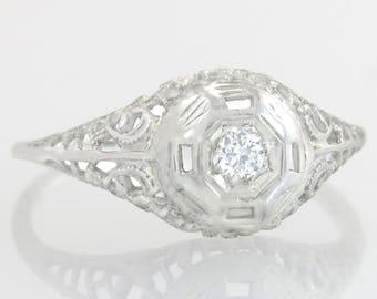 Antique .03ct Genuine Diamond 14K White Gold Filigree Art Deco Engagement Ring