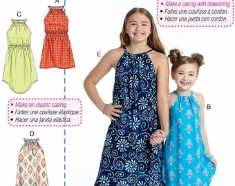 Learn to Sew Girls' Summer Dress Pattern,  Loose Fit Dress Pattern, Easy Pullover Cover Up Dress Pattern,  McCall's Sewing Pattern 7589