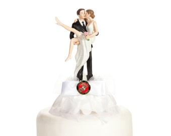 """Military """"Over the Threshold"""" Cake Topper- Air Force - Navy - Army - Marines - Custom Painted Hair Color Available - 109006"""