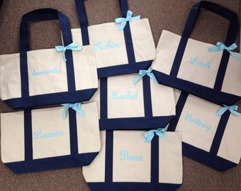 Set of 7 bridesmaid tote Personalized canvas boat bag